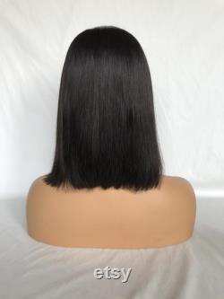 100 humain remy cheveux Bob perruques, 10A grade humain remy dentelle perruque avant, bon marché en dentelle humaine avant noir Bob perruque