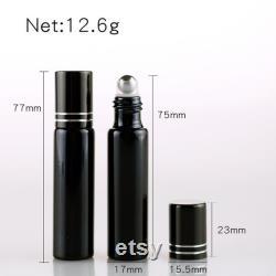 100 pièces lot 10ML rechargeable bouteille de parfum en verre UV noir avec rouleau sur vide huile essentielle Cas crème pour les yeux Flacon
