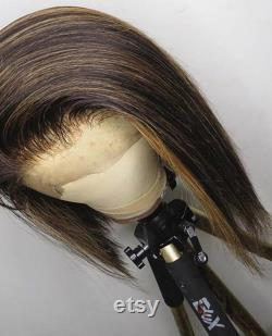 13x4 Short Bob Lace Frontal Blunt Cut Ombre Honey Blonde Highlight