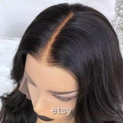 160 Densité Pré Plumé Faux Cuir chevelu Invisible 13x6 Dentelle Avant Cheveux humains Perruque courte