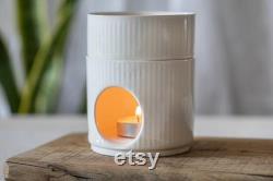 2 Diffuseur d huile de poterie blanche moderne, brûleurs d huile essentielle, chauffe-bougies en céramique, diffuseur d huile d aromathérapie, diffuseur de parfums à la maison