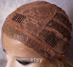 35 Cheveux humains Blend Perruque Dentelle Avant Ash Brown et Blonde Mix Ondulé Heat Safe Cancer Alopecia Cosplay