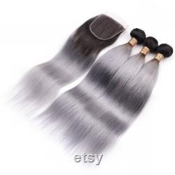3bundles ombre 1b grey extensions de cheveux humains avec fermeture de cheveux cheveux humains faisceaux gris cheveux brésiliens trames cheveux tissage livraison gratuite
