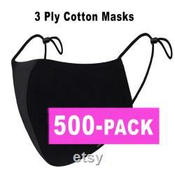 500 Pack de Masque facial 3 Ply Cotton, Masque en coton réutilisable noir réglable, Masque de visage lavable, Masque de visage en coton, Masque en vrac, Masque de poussière adulte