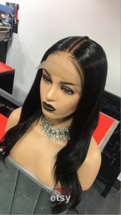 6-6 La ceque à la perruque de cheveux humains de fermeture de dentelle. Perruque profonde de fermeture de dentelle de séparation.