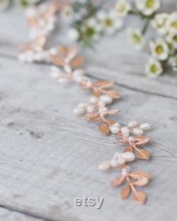 Accessoires de cheveux de mariée or rose, vigne de cheveux d or rose, vigne de cheveux de perle, bandeau de mariée, coiffe de mariée, vigne de cheveux d or, couronne de feuille, laisser