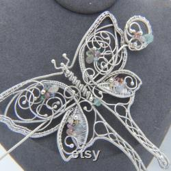 All Aflutter Luna Moth Wrapped Silver Scarf or Hair Pin with Sapphires, Aquamarine and Tourmaline