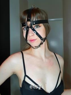 Baillon harnais 13 en 1 en PVC noir Vegan -Verrouillable