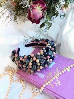 Bandeau, bandeau, couronne brodée de pierres précieuses