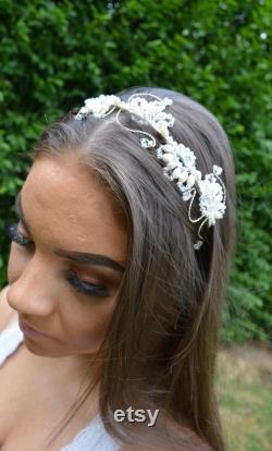 Bandeau de perle, perle d eau douce et morceau de tête de cristal, coiffure de mariage, accessoire de cheveux de mariée, bandeau de cristal