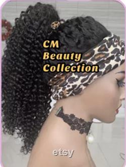 Bandeau malaisien sans colle non-Dentelle, perruque de cheveux humain noir naturel, perruque scalf de densité texture bandeau Jerry Curl