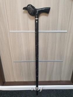 Bâton de marche de tête de corbeau, canne de marche de corneille, bâton gothique noir, fait main, bois découpé, cadeaux d amoureux de corbeau
