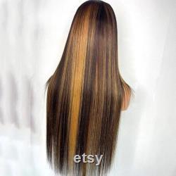 Belles perruques droites avant de dentelle avec des faits saillants, perruques humaines de cheveux, perruque longue, perruques pour les femmes noires