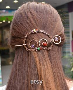 Bijoux de cheveux Bâton de cheveux pour les femmes Pour les cheveux longs bijoux en cuivre Clip cheveux Barrettes cheveux Cadeaux pour les mères jour 7e anniversaire cadeau Châle broche
