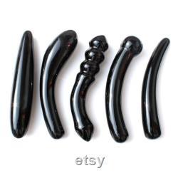 Black Obsidian Yoni Collection Kegel Strengthening Crystal Glass Dildos Stone Wand Pelvic Floor Muscle Strengthening Kegel Exercise Wand