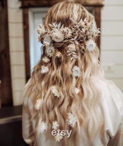 Blanc Ivoire Boho Peigne de cheveux de fleur séchée peigne de cheveux de fleur- accessoire de cheveux de mariage peigne nuptial de cheveux