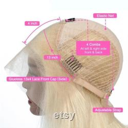 Blonde Dentelle Front Perruque 13X4 Short Lace Front Human Hair Perruques 150 Densité Malaisienne Remy 613 Straight Bob Perruque