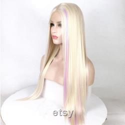 Blonde and Purple Mixed Highlights Wig Long Straight Wig Lace Front Wig Natural Wig Heat Resistant wigs for women cosplay wig