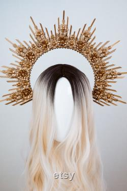 Boho Wedding, Gold Halo, Boho Wedding Crown, Casque de mariage, Boho Wedding Tiara, Met Gala Crown, Sunburst Crown, Halo Crown, Headpiece