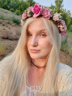 Boho-style tête détestant fleurs roses magnifiques