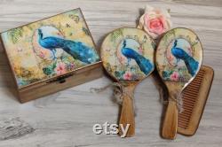 Boîte à bijoux paon, brosse à cheveux paon, brosse à cheveux et coffret Peacock, boîte à souvenirs de paon, boîte vintage Peacock, boîte à paon, boîte à souvenirs