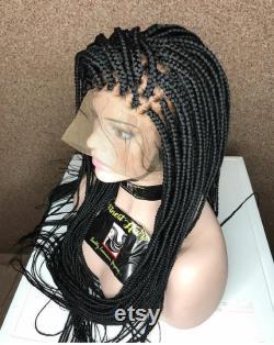 Box perruque tressée faite à la main sur la dentelle pleine Frontal Cheveux humains.Perruques tressées. Tresses