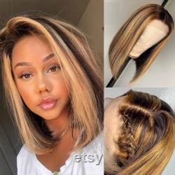 Brazilian 180 Density Straight 13 4 Lace Front Highlights Pre-plucked Human Hair Bob Wigs