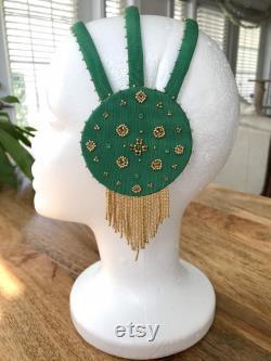 Casque Fringe inspiré de médaillon émeraude des années 1920 Bandeau Art Nouveau fait main