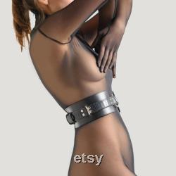 Ceinture de servitude noire, ceinture de bondage de serpent, ceinture en cuir BDSM, équipement BDSM pour femme, équipement soumis premium, retenues en cuir haut de gamme