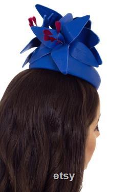 Chapeau bleu, Fascinateur Bleu, Millinerie Bleue, Chapeau Bleu, Chapeau Personnalisé, Chapeau de Course, Chapeau pour Femme, Chapeau de Mariage, Chapeau pour Races NOEMI