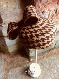 Chapeau de boîte de pilules de style de pied de poule chapeau chic de pays tambourin de style vintage chapeau vintage avec n ud géant coiffe en feutre pied de poule