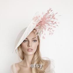 Chapeau de derby du Kentucky, chapeau blanc de derby, chapeau royal rose d ascot pour la femme, fascinator de paille, chapeau de mariage, chapeau d ascot de crème, mère de mariée