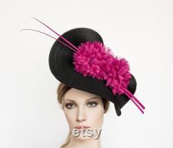 Chapeau de derby du Kentucky, chapeau rose noir de fascinator, chapeau de jour de course, mère du chapeau de mariée, chapeau d occasion, chapeau de fascinator d ascot, fascinator de derby