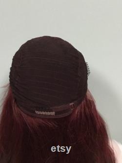 Cheveux humains européens Perruque de dentelle avant magnifique couleur intense auburn 99j 24 pouces de densité épaisse grande main de chapeau attaché