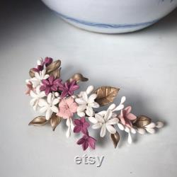 Coiffure en porcelaine personnalisée, coiffe de mariée, coiffe de mariage, demi-rona en porcelaine, semi-rona nuptiale, semi-rose, coiffes