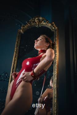 Col en cuir rouge BDSM Laisse, BDSM Red Choker, Collier BDSM Premium, Retenues en cuir, Retenues soumises, Collier soumis, Bondage