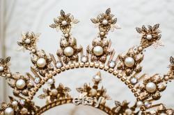 Couronne Halo d or, Casque Glitter Halo, Couronne de festival, Mariage de Boho, Couronne de gala de Met, Couronne de mariage, Couronne de cravate de zip, couronne de mary, couronne de Boho