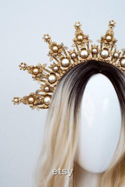 Couronne Halo d or, Casque Glitter Halo, Couronne du Festival, Casque du Festival, Couronne de Gala Met, Couronne de Sunburst, Mariage Boho, Mary Crown, Boho