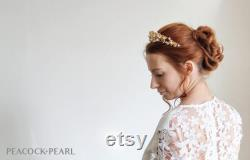Couronne de Halo or Diadème de mariée Parure de mariage floral blanc Couronne de cristal de Bohème