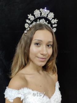 Couronne de cristal, double couronne, couronne de mariée, couronne de mariage, tiara de mariée, Tiara de mariage, tête de tête de mariage