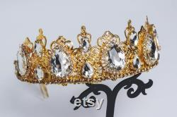 Couronne de mariage d or Strass Clear diadèmes Fall bridal diadème baroque diadème queen filigrane Prom fashion crown dolce délicate diadème Burning man