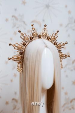 Couronne de soleil, Lune enfant Halo, Halo, Halo Crown, Halo Headpiece, Halo Headband, Halo Headlights, Gold Halo, Headpiece, Wedding Crown,Boho Stars