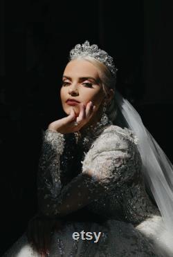 Couronne de tiara de mariée, casque de mariage