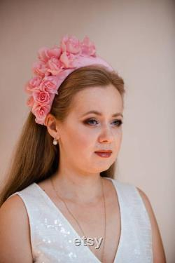 Couronne rose de halo de fleur Kate Middleton modèle, couronne rose de fleur de fard à joues, chapeau rose de fascinator, femmes de chapeaux de derby, bandeau large de halo, morceau de tête