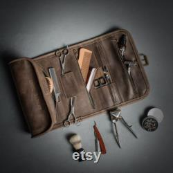Cuir Wash roll Travel toiletry roll Leather Dopp kit Hanging wash bag Barber toiletry Travel case Leather organizer Hanging toiletry bag