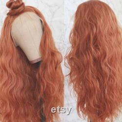 Cuivre Red Beauté Curly Waves Perruque avant de dentelle