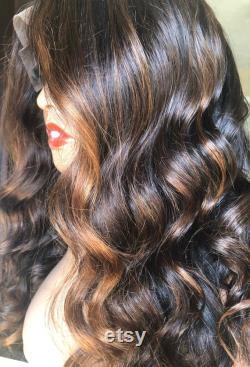 Custom Golden Bronze Balayage Met en évidence la perruque avant en dentelle transparente de haute qualité 18 Photo