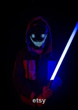 Cyberpunk plein visage LED masque lumineux téléphone mobile Bluetooth DIY personnalisé en treillis mécanique cosplay Vacances Noël