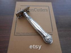 Double Edge Razor Antique Sterling Silver Handle Circa 1840 avec Merkur Razor Head Nickel Finish Safety Razors Fab Gifts par LondonCutlers