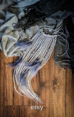Dreadfall argent gris, 16 pièces plus plumes, 20 pouces, extention temporaire des cheveux sur la bande, dreadlocks synthétiques et tresses